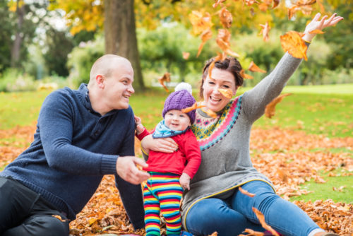 Autumn leaf fight baby photos in Cockermouth
