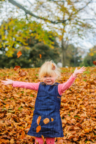Leaf throwing kids in Autumn