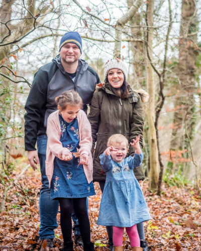Family leaf throwing, Cumbria photographers