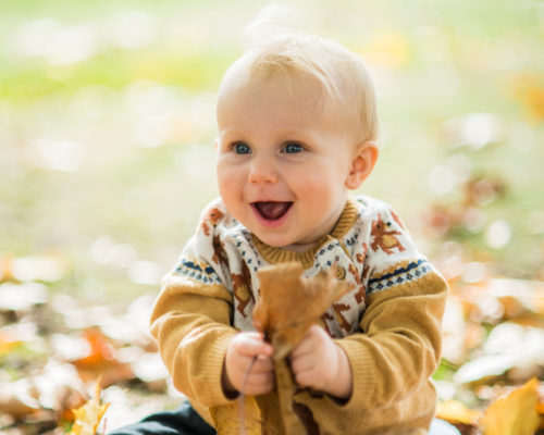 baby photographer Cumbria Peal in the leaves