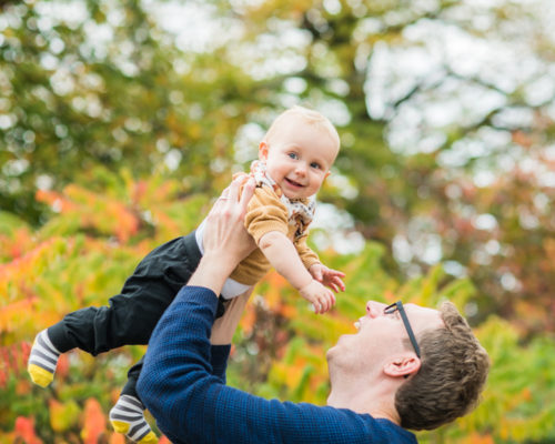 Dad holding baby, Autumn family portraits Lake District