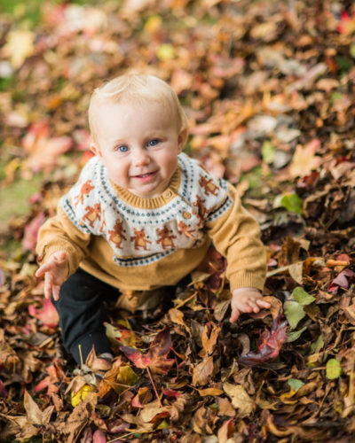 Baby Pearl in the leaves - Cumbria photorgaphers