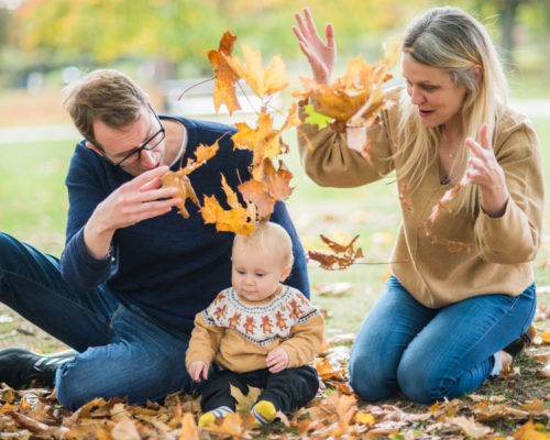 Family leaf throwing - portraits in the Lake District