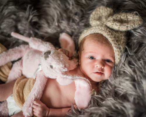 Baby in rabbit hat, baby photographer Aspatria