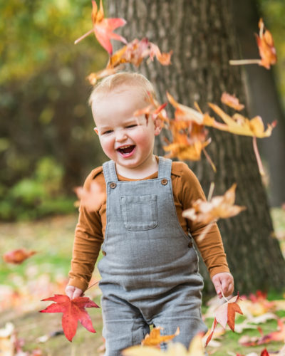 Ethan with Autumn leaves falling, Carlisle baby photographers