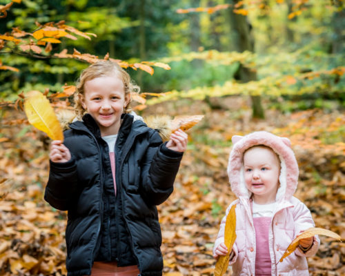 leaf waving in the woods, Tahlia and Ophelia