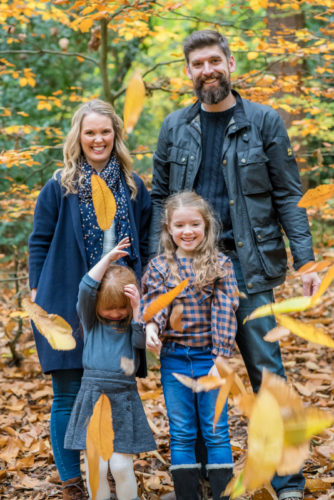 Leaf throwing family, cumbria baby photographers