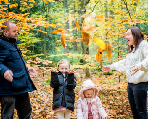Family leaf fight, Keswick family photographers
