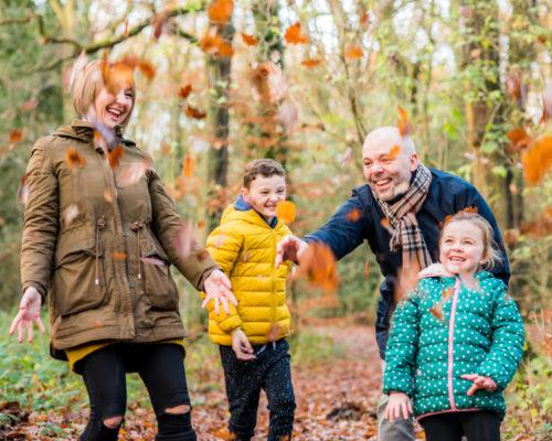 Family leaf throwing, Carlisle baby photographers