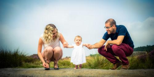 On rocks, Lake District family portraits