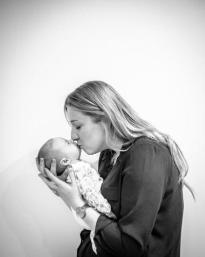 Baby kisses with Mum, newborn photography