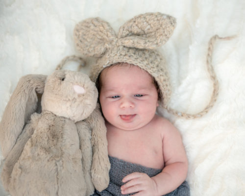 Ramsey and his bunny, newborn photographers Carlisle