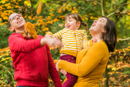 Family leaf throwing, Carlisle photographers