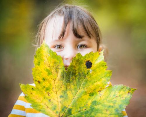 Hiding behind a leaf, Felicity, Autumn portraits Lake District