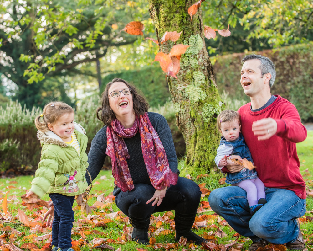 Leaf fight, family portraits Mirehouse Gardens