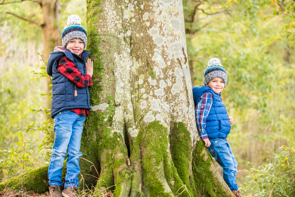 Holding onto a tree, Derwentwater Autumn family photographs
