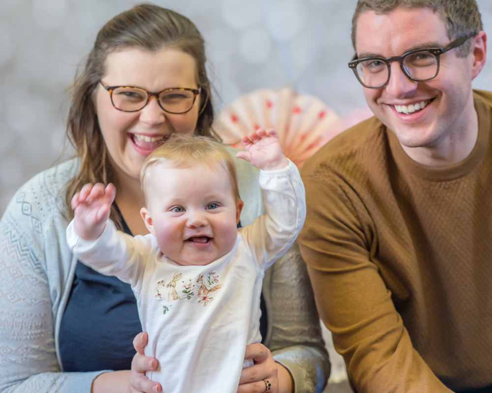 Baby Georgie putting hands in air, newborn portraits Carlisle