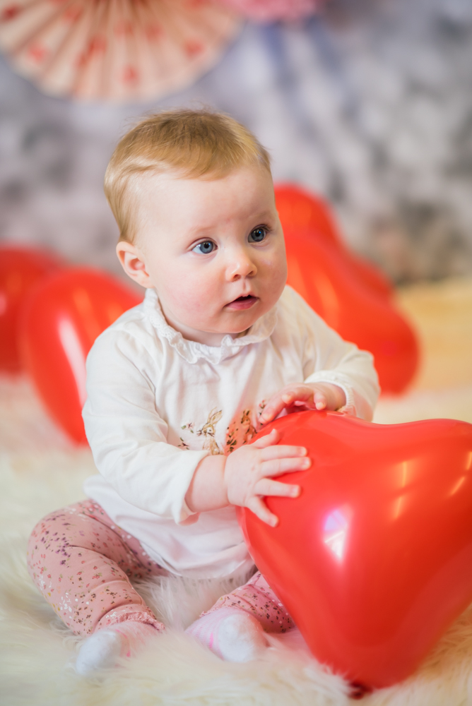 Georgie with balloons, Valentines baby portraits