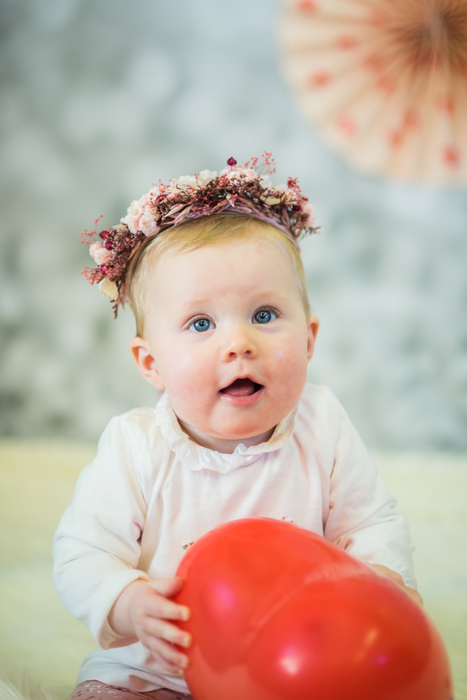 Baby Georgie in floral halo, Wigton baby photographers