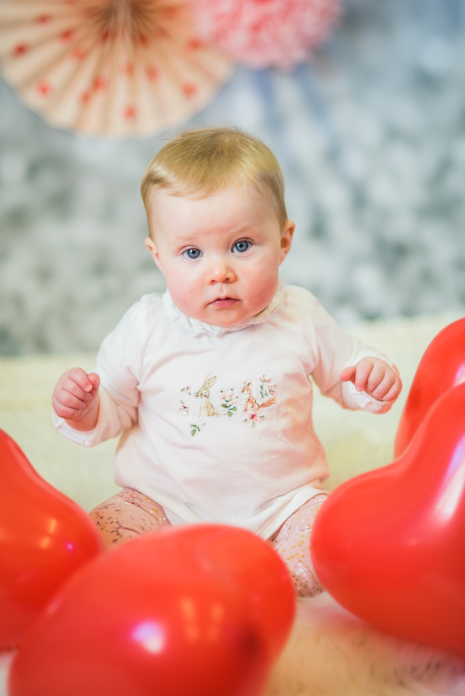 Baby Georgie and heart balloons, Wigton photographers
