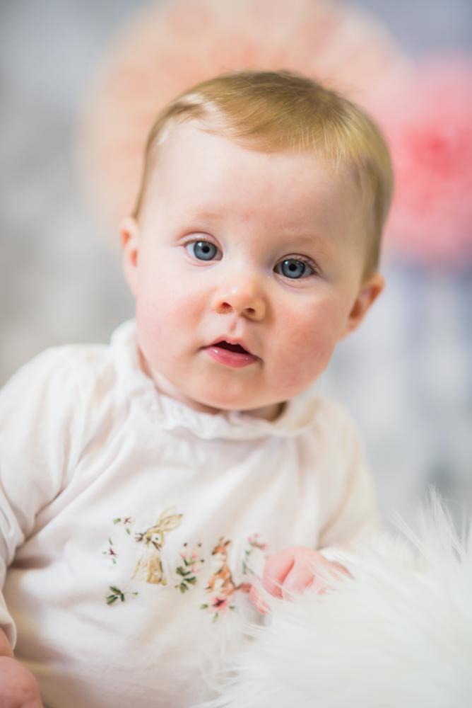 Baby looking at camera, Cumbria baby photographers